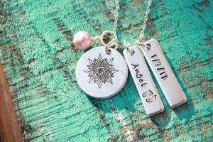 sacred necklace 2 tags pink
